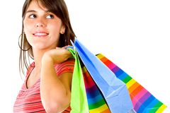 Thoughtful shopping woman Royalty Free Stock Images