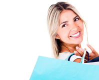Thoughtful shopping woman Stock Photography