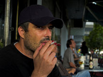 Thoughtful Smoker At Street Cafe Terrace Stock Photos