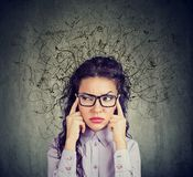 Stressed young woman with a mess in her head Royalty Free Stock Photos