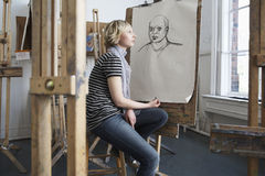 Thoughtful Student By Charcoal Portrait Stock Photography