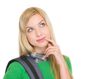 Thoughtful student girl with backpack Stock Image