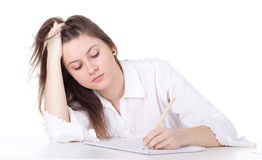 Thoughtful student girl drawing Stock Images