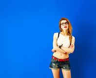 Thoughtful Student Hipster Girl Looking Up Stock Images