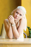 Thoughtful teenage girl with beautiful blue eyes Royalty Free Stock Photography