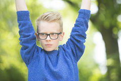 Thoughtful teenager boy outdoor portrait Stock Photos