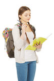 Thoughtful teenager with school backpack. Stock Images