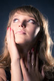 Thoughtful and tender woman portrait Royalty Free Stock Photo