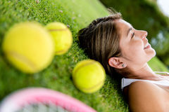Thoughtful tennis player Royalty Free Stock Photo