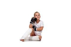 Thoughtful thai boxing girl Royalty Free Stock Photo
