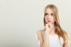 Thoughtful thinking woman face. Royalty Free Stock Photography