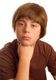 Thoughtful thirteen year old boy royalty free stock photography