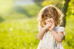 Thoughtful toddler girl royalty free stock images