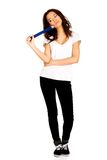 Thoughtful woman with big pencil. Stock Photos