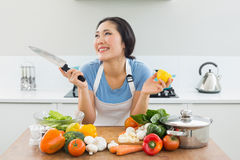 Thoughtful woman chopping vegetables in kitchen. Thoughtful smiling young woman chopping vegetables in the kitchen at home Stock Photos