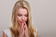 Thoughtful woman face, sad girl praying Royalty Free Stock Photo