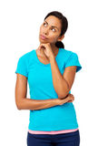 Thoughtful Woman With Hand On Chin Looking Away Royalty Free Stock Image
