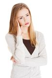 Thoughtful woman has a big problem Royalty Free Stock Images