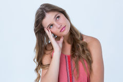 Thoughtful woman holding her head Stock Images