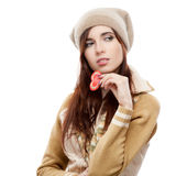 Thoughtful woman holding red paper heart Stock Photos