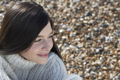 Thoughtful Woman Looking Away At Beach Royalty Free Stock Photos