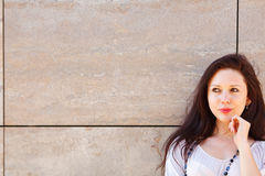 Thoughtful woman looking on copyspace Royalty Free Stock Images