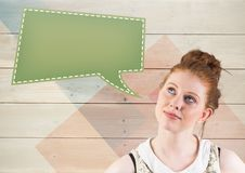 Thoughtful woman looking at speech bubble icon Stock Image