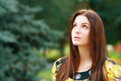 Thoughtful woman outdoors Royalty Free Stock Photography