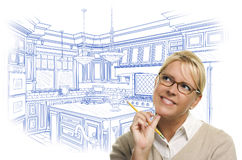 Thoughtful Woman With Pencil Over Custom Kitchen Design Drawing Stock Images