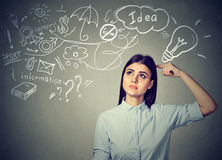 Thoughtful woman planning her future Stock Photo