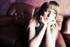 Thoughtful woman portrait Stock Image
