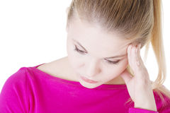 Thoughtful woman with problem Royalty Free Stock Images