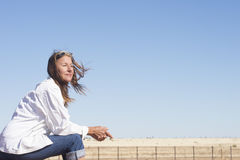 Thoughtful woman in rural countryside outdoor Stock Photos