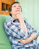 Thoughtful woman with sad face Royalty Free Stock Images