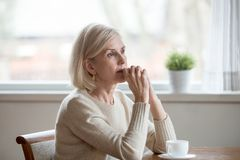 Free Thoughtful Woman Sitting At Table With Cup Of Tea Royalty Free Stock Photography - 138713797