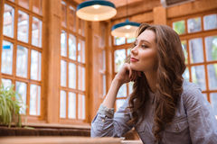 Thoughtful woman sitting in cafe Royalty Free Stock Image