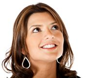 Thoughtful woman smiling Royalty Free Stock Photo