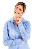 Thoughtful woman smiling Stock Photography