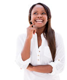 Thoughtful woman smiling Royalty Free Stock Photos