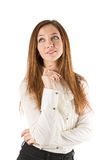 Thoughtful woman surprisedм Royalty Free Stock Photos