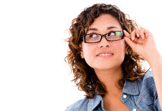 Thoughtful woman wearing glasses Stock Image