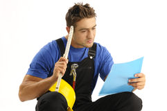 Thoughtful worker Stock Image