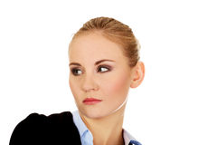 Thoughtful and worried business woman Stock Photo