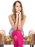 Thoughtful Worried Lonely Young Woman Royalty Free Stock Photo