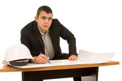 Thoughtful young architect or engineer Stock Photography