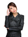 Thoughtful young asian woman Royalty Free Stock Images