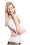 Thoughtful young blond woman. Stock Photography