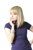 Thoughtful young blond woman Stock Images