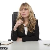 Thoughtful young business manageress Royalty Free Stock Photos