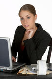Thoughtful Young Business Woman with Laptop Stock Images